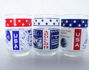 Vintage Apollo Glasses Beverage Double Rocks USA Patriotic Astronaut Moon Rocket Red White Blue Bar Man Cave Party