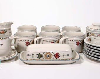 Studio Nova TIMBERLINE Coffee Mug Saucer Set of 6 with Creamer Sugar Bowl Gravy Boat Southwest Tribal Vintage Set