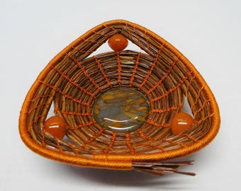Orange Basket Orange Triangle Pine Needle Basket Orange Native American Pine Needle Coiled Basket Housewarming Basket For Him Basket For Her