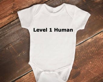 "Baby Bodysuit- ""Level 1 Human"" - Funny Gaming Baby Onesie"