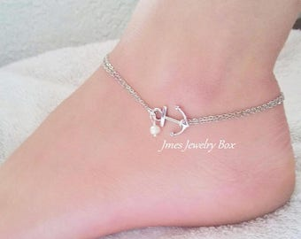 Silver double chain anchor anklet with freshwater pearl