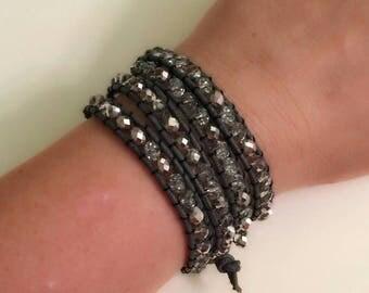 Multi Wrap Silver Crystal  Bracelet, Gray Leather Bracelet, Elegant Bracelet, Chic Jewelry, Silver Bracelets, Silver Jewelry, Christmas Sale