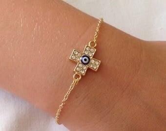 Gold Plated Cross Charm Bracelet, Gold Charms, Evil Eye Cross Charm Bracelet, Catholic Jewelry,  Religious Jewelry, Amulet Charm, Valentines