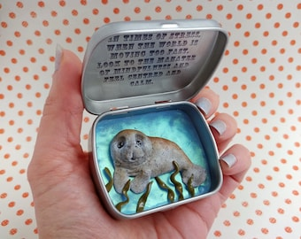 Manatee Pocket Totem Tin 'The Marvellous Manatee of Mindfulness'' Quirky Comforting Meditation Gift