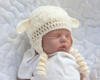 Easter BABY GIRL HATS, Baby Boy Hats, Crochet Baby Hat Animal Baby Hats, Baby Lamb Hat Crochet Cream Hat, Newborn Lamb Hat, Newborn Easter