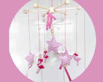 Flamingos and stars baby mobile fabric pattern asanoha for girl