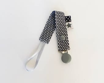 "Pacifier clip-""ZIG - ZAG"" pattern fabric / black/gray / white - washable"