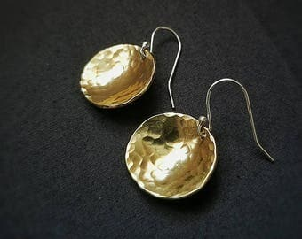 Brass hammered concave earrings