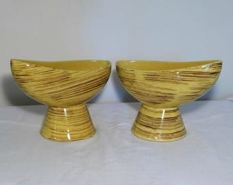 Pair McCoy Pottery Asymmetrical Yellow Pedestal Planters Banana Brown Stripes Harmony Line Retro Mid Century Modern Indoor Ceramic Planter