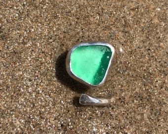 Carribean green wrap around Sea Glass ring 5.5 to a 7