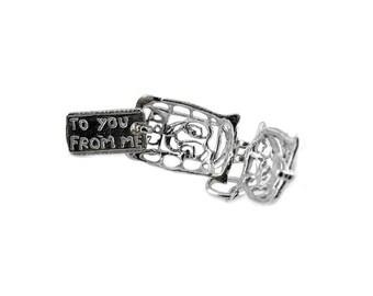 Sterling Silver Opening Ornate Post Bag Charm For Bracelets