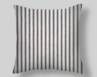 Ticking Pillows, Blue stripe ticking pillow covers, french country style, rustic, farmhouse  18 inch