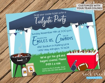 Tailgate Party Invitation, Tailgating Party, Football Watch Party, College Football, NFL Football, Printable Party Invitation