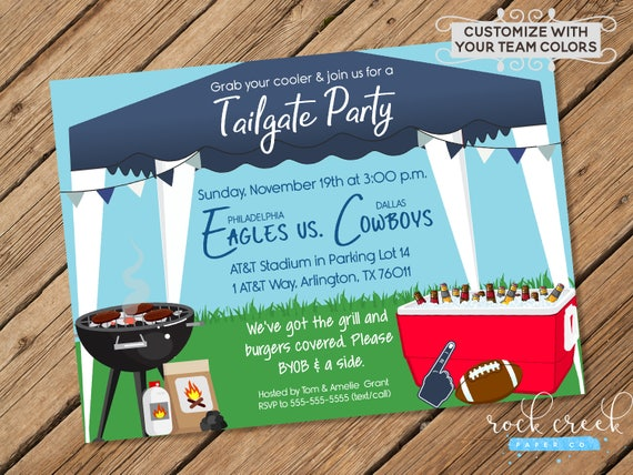 Tailgate Party Invitation Tailgating Party Football Watch Party