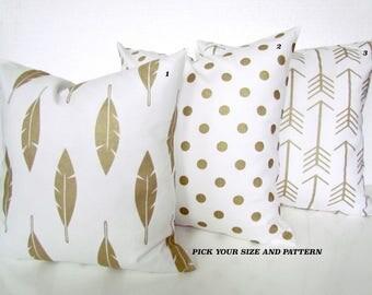 GOLD HOLIDAY PILLOWS Gold Metallic Throw Pillows Gold Pillow Cover Gold Polka Dot Pillows Athena Gold Pillow Covers Gold Feather 16 18 20x20