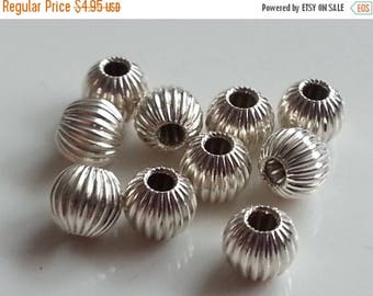 SAVE 20% SAT & SUN 10 Pieces Sterling Silver 925 Corrugated Beads 4mm