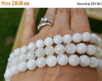 """SAVE 20% SAT & SUN 1-16"""" Strand Genuine Natural Rainbow Moonstone 8mm Smooth Rounds 50 Beads"""