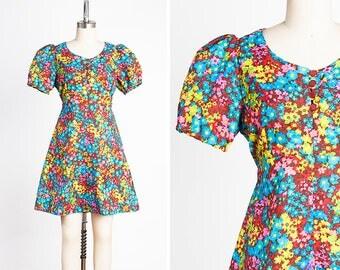 PSYCHEDELIC Vintage 1960s Vibrant Floral BABYDOLL Mini Dress // MOD // Go-Go // Summer of Love // Hippie