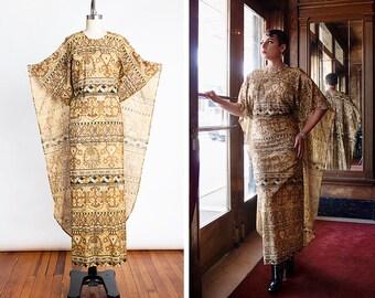 Ultra GLAM Vintage 1970s Metallic LUREX Wiggle Dress with Floor Length Cape //Burlesque // Drag // Diva // Disco // Bombshell // Resortwear