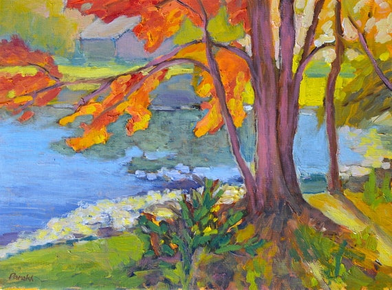 Landscape painting Original oil, Autumn landscape painting, Maple tree, Fall colors , New England, Pond landscape, Plein air, fine art
