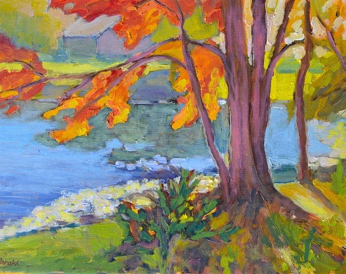 Landscape painting Original oil, Autumn landscape painting, Maple tree, Fall colors , New England, Pond landscape, Plein air, fine art