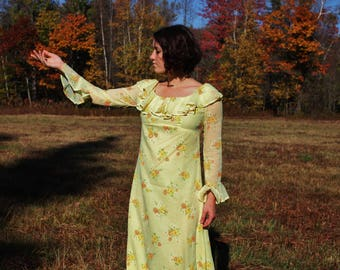 Yellow Flower Power Maxi Gown Dress