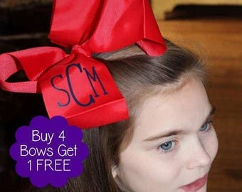 Buy More-Save More-Sets can mix colors & fonts-HUGE Red hairbow monogrammed in your favorite color w/ name/initials is fun! Ships in 3 days