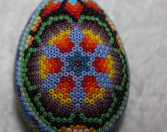 Huichol  Peyote Beaded Egg Ornament 10