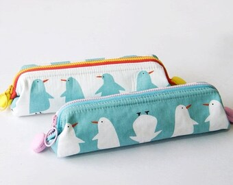 SALE 20% Penguin Pencil Case, Makeup Bag, Cosmetic Bag, Small Zippered bag, Frame Purse, Back to School Supply