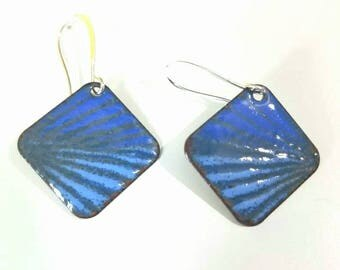 Shades of blue and gray Torch fired copper enameled  earrings