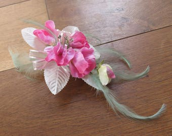 Flower corsage, Pink Sweet Peas. Wedding, Prom or Event.