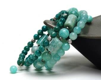 Premium Amazonite Gemstone Memory Wire Bracelet - Aqua, Sea Green, Blue Green Stone Bracelet