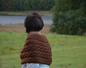 Cable Knitted Shawl Capelet Shrug Poncho Hand Knit Brown
