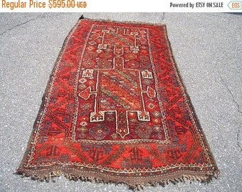 SUMMER CLEARANCE Persian Rug 1960s Vintage, Hand-Knotted, Kurdish Rug (3142)