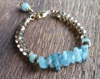 Aquamarine Bracelet, Birthstone Bracelet, Handmade Bracelet, Gold Bracelet, Beaded Bracelet, March Birthstone, Bohemian Jewelry