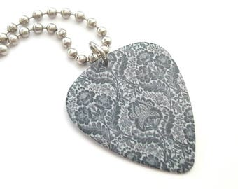 Grey Design Guitar Pick Necklace with Stainless Steel Ball Chain
