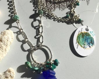Cobalt Sea Glass and Turquoise Necklace