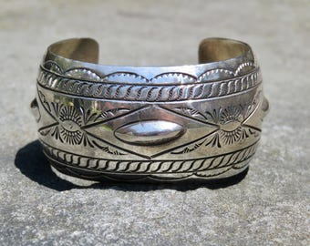 Vintage Sterling Silver Cuff, Native American Silver Bracelet, Handmade Navajo Sterling Jewelry, Signed Native American Jewelry, Silver Cuff