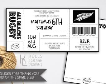 All Blacks Birthday Invitation | Rugby Birthday Party | All Blacks Rugby Party | All Blacks | Rugby Ticket Invitation | NZ Rugby (187)