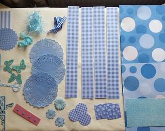 Blue Collage Pack B5 blue junk journal kit ephemera die cuts paper Inspiration pack scrapbook cardmaking feathers flowers