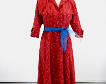 1940/50s Rayon Taffeta Red Dress with Novelty Stars ......  size Medium