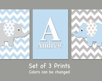 Personalized Elephant Nursery Wall Art - Set of 3 Prints- Blue and Gray Elephants - Boy Nursery Prints - Baby Nursery-Colors can be changed