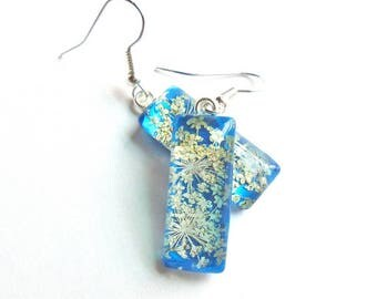 Queen Annes Lace Real Pressed Flower Blue  Glass Rectangle Drop Earrings