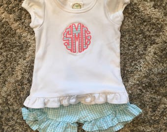 Girls Ruffle Gingham Monogrammed or Appliquéd Shirt and Shorts Set