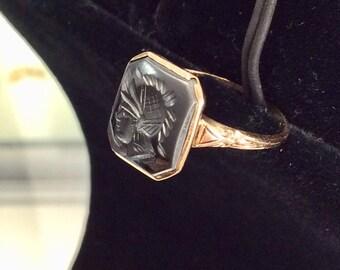 Petite 10k Hematite Intaglio Ring