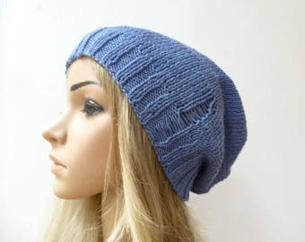 Blue Cotton Slouchy Beanie - Hand Knit Hat - Women Knit Hat - Drop Stitch Cotton Slouch Beanie - Eco Friendly Hat - ClickClackKnits