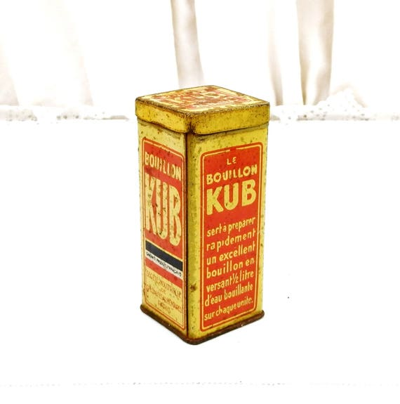 Small Vintage French Metal Tin For Gravy Cubes Bouillon Kub Red Graphics on Yellow, Kitchen Decor From France, Collectible Thin Metal Box