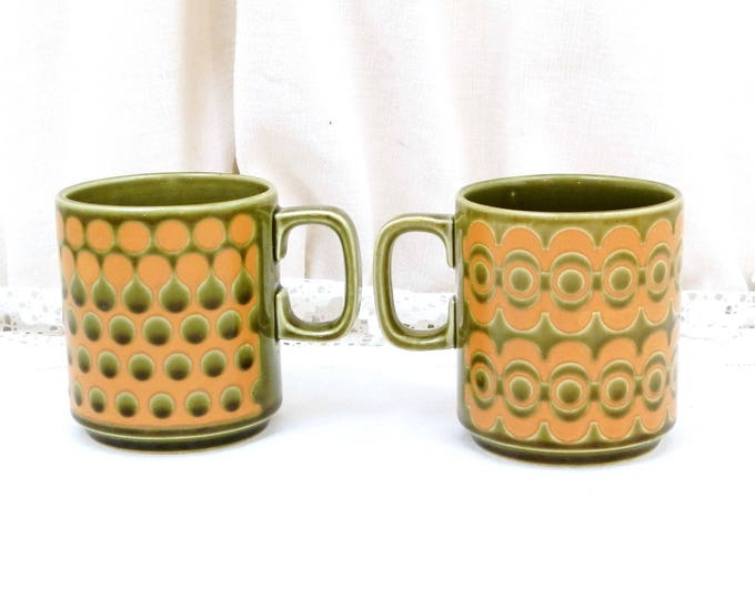 Pair of Vintage Hornsea Pottery Mugs Geometric Series Pattern No 965 , 2 Collectible 1960s 1970s Ceramic Cups from England, Retro Drinkware