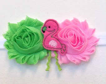 Baby Toddler Girl Shabby Flower Headband with Flamingo Feltie Pink and Green Baby Headband, Newborn Flamingo Shabby Headband
