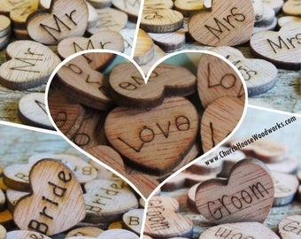 Summer SALE 1,000 Wood Heart Confetti Combo Pack Wood Hearts, Wood Confetti Engraved Hearts- Rustic Wedding - Table Decorations- Love Mr Mrs